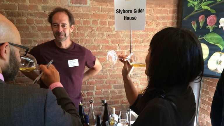 Dan Wilson of Slyboro Cider House in Granville, N.Y., discusses his product at a Cider Week preview on Monday, Sept. 15, 2014.