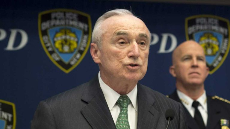 Police Commissioner William J. Bratton speaks during a briefing in the Joint Operations Center within One Police Plaza, April 1, 2015.
