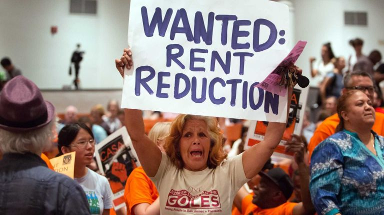 Tenants demonstrating during New York City's Rent Guidelines Board meeting at Cooper Union during a vote on whether to raise the rent in more than one million rent-stabilized apartments on Monday, June 29, 2015.