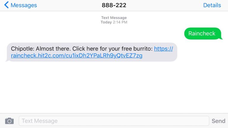 Chipotle is giving out rainchecks for free burritos.