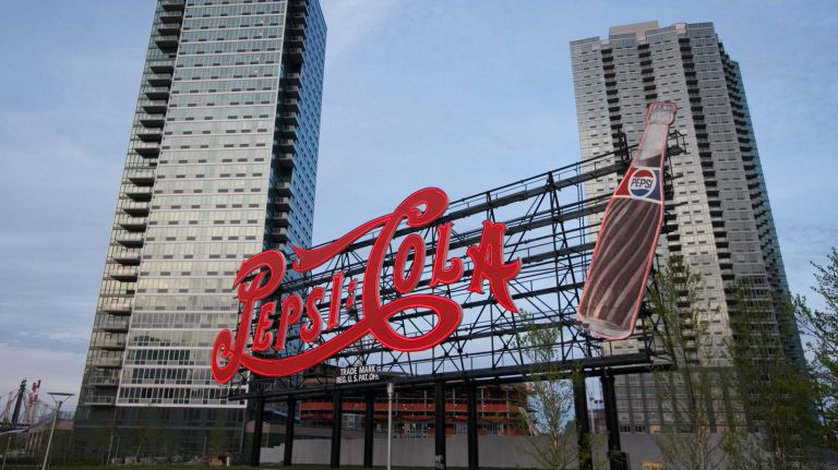 Pepsi Cola sign in Gantry Plaza State Park in Long Island City, April 30, 2012.