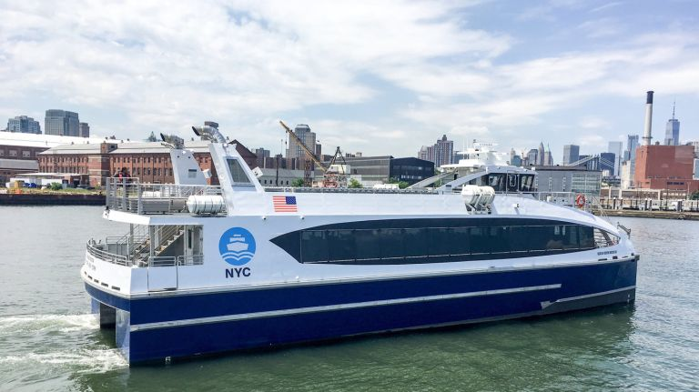 The NYC Ferry's larger boat, the Ocean Queen Rockstar, is one of six 350-capacity vessels that will be introduced in the next two weeks due to higher customer demand.