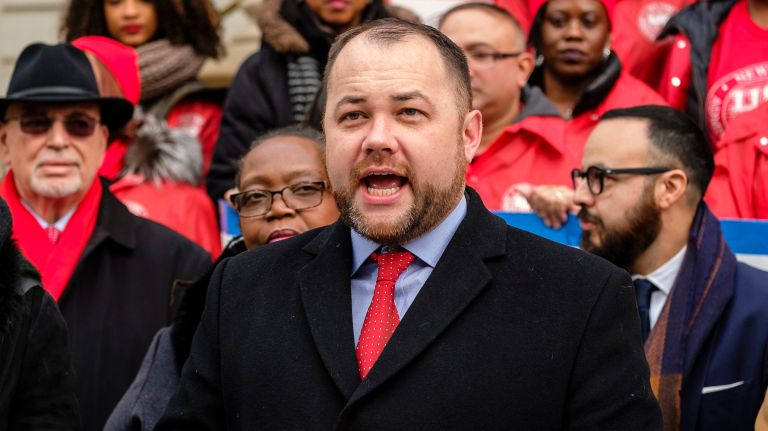 Corey Johnson during a rally on the City Hall steps on  Dec. 20, 2018.