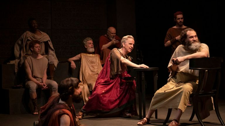 """The cast of """"Socrates"""" at the Public Theater."""