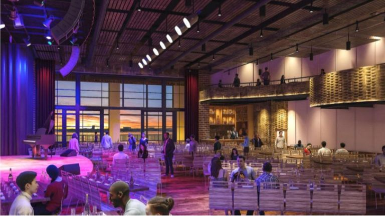 A rendering of City Winery at Pier 57 shows floor seating, a balcony and floor-to-ceiling windows, plus views of the Hudson River.