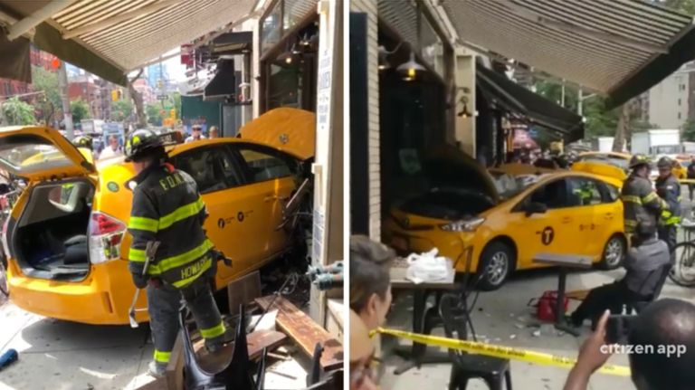 A taxi crashed into a restaurant in Hell's Kitchen Thursday.