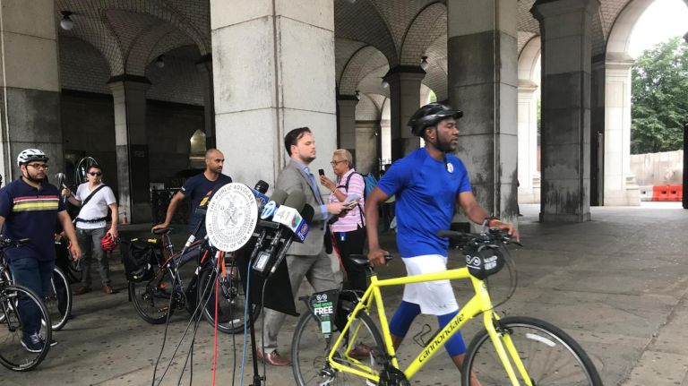Jumaane Williams rode across the Brooklyn Bridge with safety advocates on Tuesday.