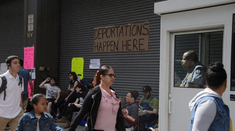 Immigration and Customs Enforcement protesters camped outside of the agency's facility at 201 Varick St. on Sunday and Monday, forcing the closure of immigration court.