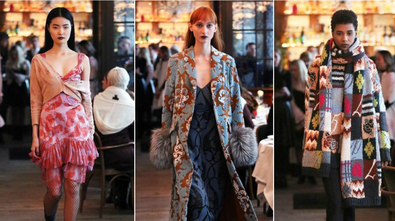"""<p>The blustery winds outside were soon forgotten once the fashion world nipped into Le Coucou, a cozy-chic downtown restaurant where Cinq à Sept showed its fall collection. </p> <p>Helmed by Jane Siskin, the label has made a big splash this past year at stores like Bergdorf Goodman, Saks, Neiman Marcus and Intermix. And no wonder: The line is alive for fall with a mix of sweet flutter dresses in burnout velvet, colorfully embroidered jackets and eye-catchers like a rum brocade """"ember coat"""" with wide fur cuffs. </p> <p>The name — that's """"five to seven"""" in English (think haute happy hour) — refers to the early evening hours in a chic fashionista's life when the sun is setting and the night is full of potential. It's the perfect time to slip into the flouncy velvet dress with embroidered cardigan falling casually off one shoulder, or the brushed terry """"I love everyone"""" sweatshirt (a bold statement in these divisive times) and fox coat. </p> <p>Serving up a selection nibbles from Le Coucou's kitchen — caviar, veal, lobster — was a nice reminder that the brand can take you from brunch to happy hour and beyond. It's like a trip to Paris, sans jet lag. (Joseph V. Amodio)</p> <p>"""" data-id=""""113096915″ data-link=""""https://amnewyork.wpengine.com/wp-content/uploads/2019/10/12484_image.jpg"""" class=""""wp-image-1.13096915″/><figcaption> Photo Credit: Bruce Gilbert </figcaption></figure> </li> </ul> <p><P>It's that time again: New York Fashion Week has returned to the city for more than a week of runway shows, presentations and beyond.</P> <P>The twice-annual fashion event runs through Feb. 16.</P> <P>We review the fall/winter collections, from your favorite iconic designers to those making their NYFW debuts.</P> <P>Keep checking back for real-time updates from New York Fashion Week.</P></p> </div><!-- AddThis Advanced Settings above via filter on the_content --><!-- AddThis Advanced Settings below via filter on the_content --><!-- AddThis Advanced Settings generic via filter on the_c"""