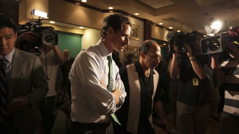 Anthony Weiner speaks at a Meeting of Friends of Rockaway Beach in a Knights of Columbus hall in Rockaway Park, Queens on July 31, 2013.