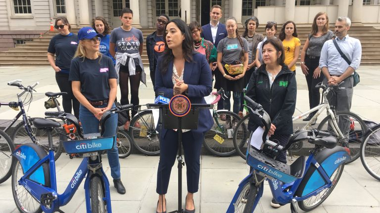 Councilwoman Carlina Rivera, on Monday, explains the need forlegislation thatensures bike lanes near construction sites are kept clear.