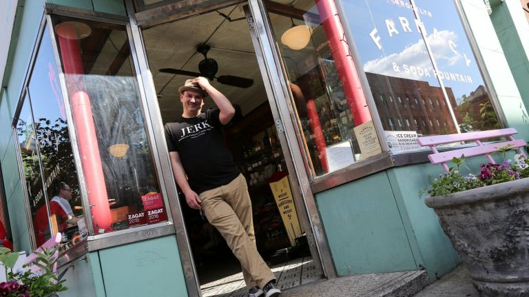 Pete Freeman, co-owner of the Brooklyn Farmacy & Soda Fountain  in Carroll Gardens,  built his joint from a shuttered pharmacy.