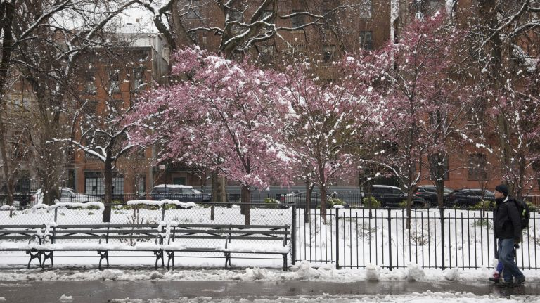 Tompkins Square Park in Manhattan is blanketed with snow April 2, 2018.