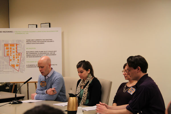 Andrew Berman, director of the Greenwich Village Society for Historic Preservation, testified at Tuesday's hearing on the Hudson Square rezoning. Seated next to him are G.V.S.H.P. staffers, from left, Dana Schulz, Sheryl Woodruff and Drew Durniak.