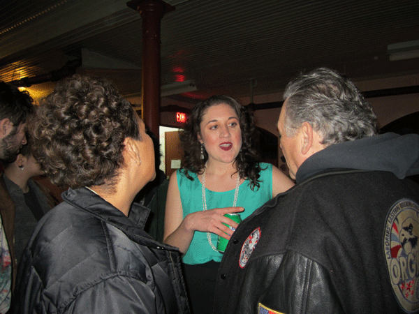 Cecily McMillan, center, at a Justice4Cecily fundraiser party in Brooklyn on March 1.    Photos by Betsy Kim