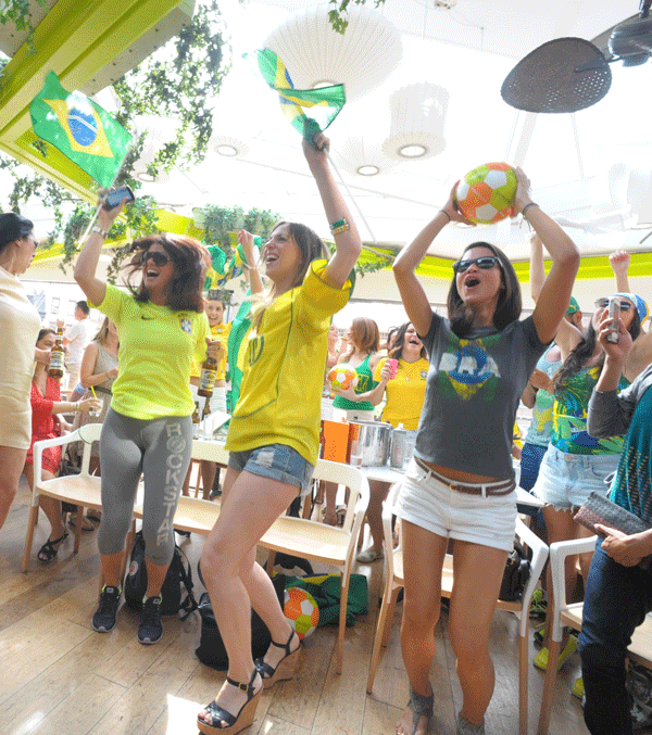 Brazil fans rejoiced at Sushi Samba, at 87 Seventh Ave. South, as their team trounced Cameroon, 4-1, in World Cup play Monday.  Photos by Jason B. Nicholas