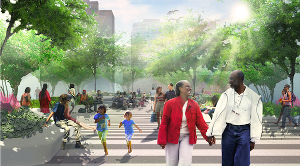 A rendering of people enjoying the future park at Essex Crossing.