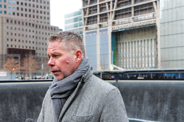 Michael Macko, son of William Macko, who died in the 1993 attack on the World Trade Center, after the ceremony marking the 20th anniversary.   Downtown Express photo by Kaitlyn Meade