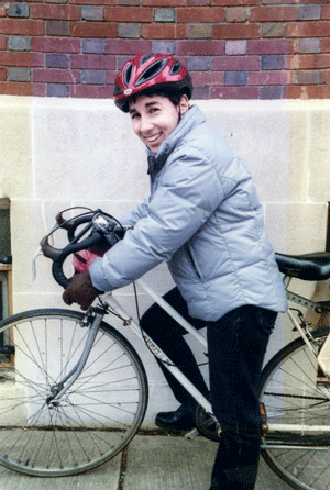 """Michele Herman in 2002, back in the """"bad old days"""" before the city's current bicycle revolution.   Photo by Douglas Gowland"""