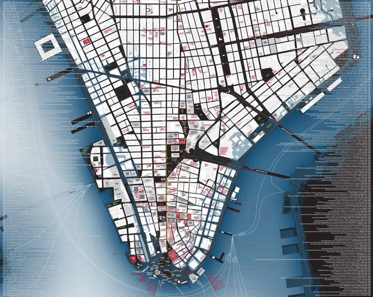 """cultureNOW The reverse side of the map, """"Lower Manhattan Now,"""" is a more conventional-looking rendering of Lower Manhattan that labels notable buildings and the sites of significant events, as well as showing the extent of Hurricane Sandy's storm surge in 2012 and the projected flood plain in 2050. The margins list historic Downtown events from 1906 through 2016."""
