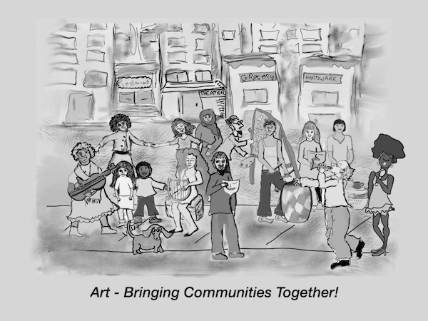 """TNC's Johnson Theater was filled to capacity for the Dec. 27 debut of its """"Art Startup"""" initiative. Illustration by Ilana Hessing"""