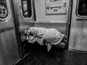 homeless a train